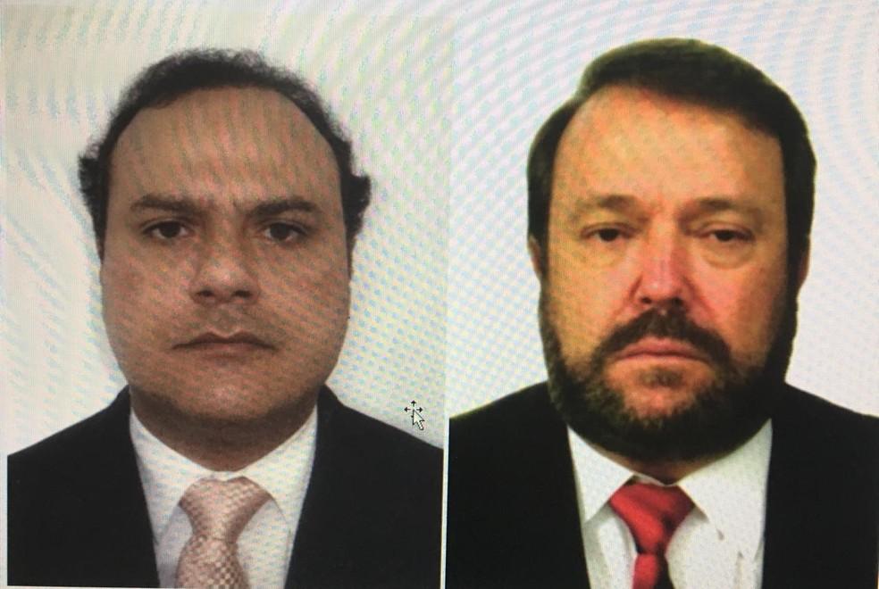 Os advogados Carlos Alberto Arges Júnior e Ildeu da Cunha Pereira presos durante operação da PF — Foto: OAB/Reprodução