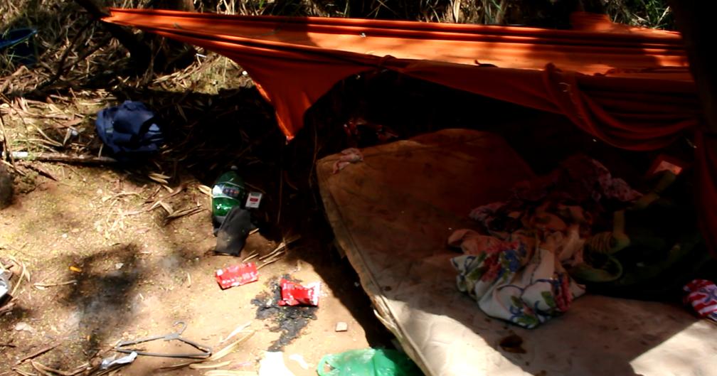 Frequentadores montam pequenas tendas para se acomodarem (Foto: Carlos Dias/G1)