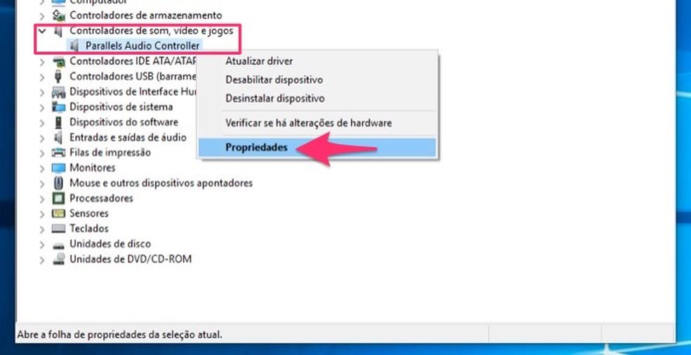 Ação para visualizar as propriedades da placa de áudio do computador pelo Gerenciador de Dispositivos do Windows 10 — Foto: Reprodução/Marvin Costa