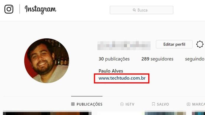Acesse o link no perfil do Instagram na web (Foto: Reprodução/Paulo Alves)