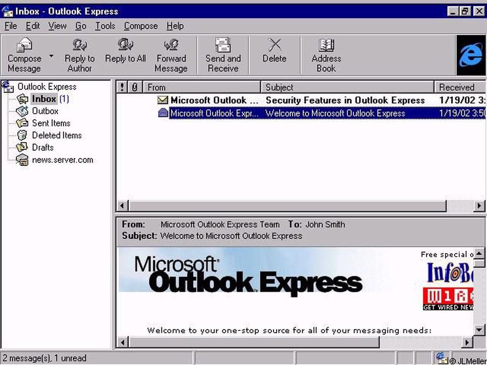 Microsoft Outlook Express era um programa de e-mails  (Foto: Divulgação/Microsoft)