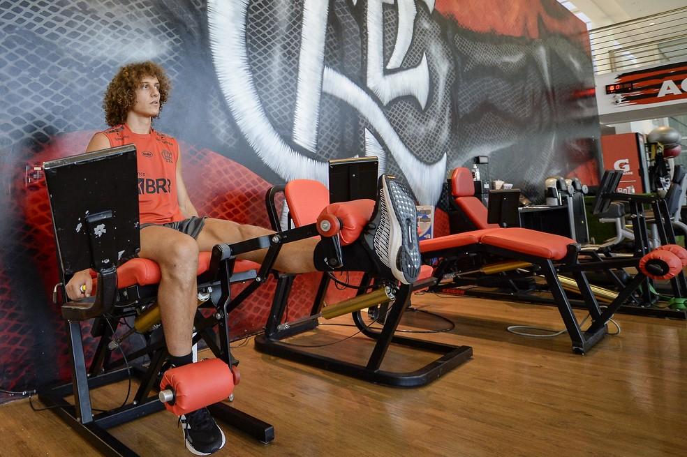 David Luiz realiza trabalho na academia do Ninho do Urubu — Foto: Marcelo Cortes/Flamengo