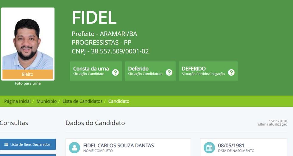 Prefeito eleito de Aramari testa positivo para coronavírus pela segunda vez — Foto: Divulgacand