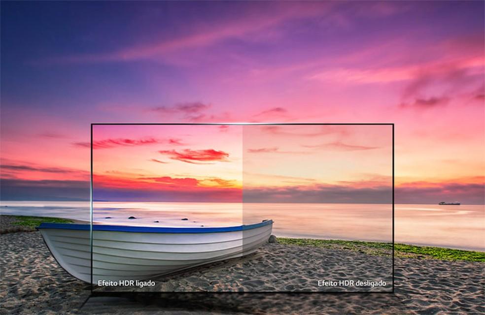 Imagem dá uma ideia da diferença de qualidade de imagem em telas que oferecem tecnologias como o HDR — Foto: Divulgação/LG