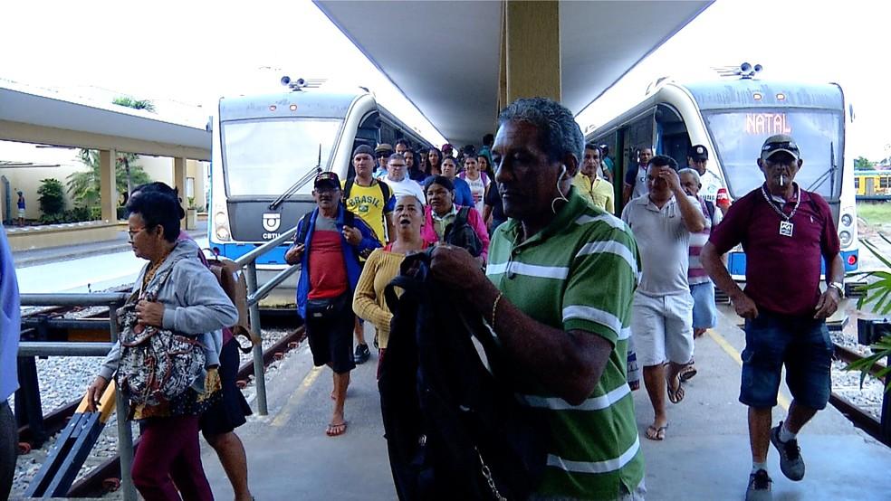 Tarifa de trem subiu de R$ 0,50 para R$ 1 na Grande Natal nesta sexta-feira (11) (Foto: Reprodução/Inter TV Cabugi)