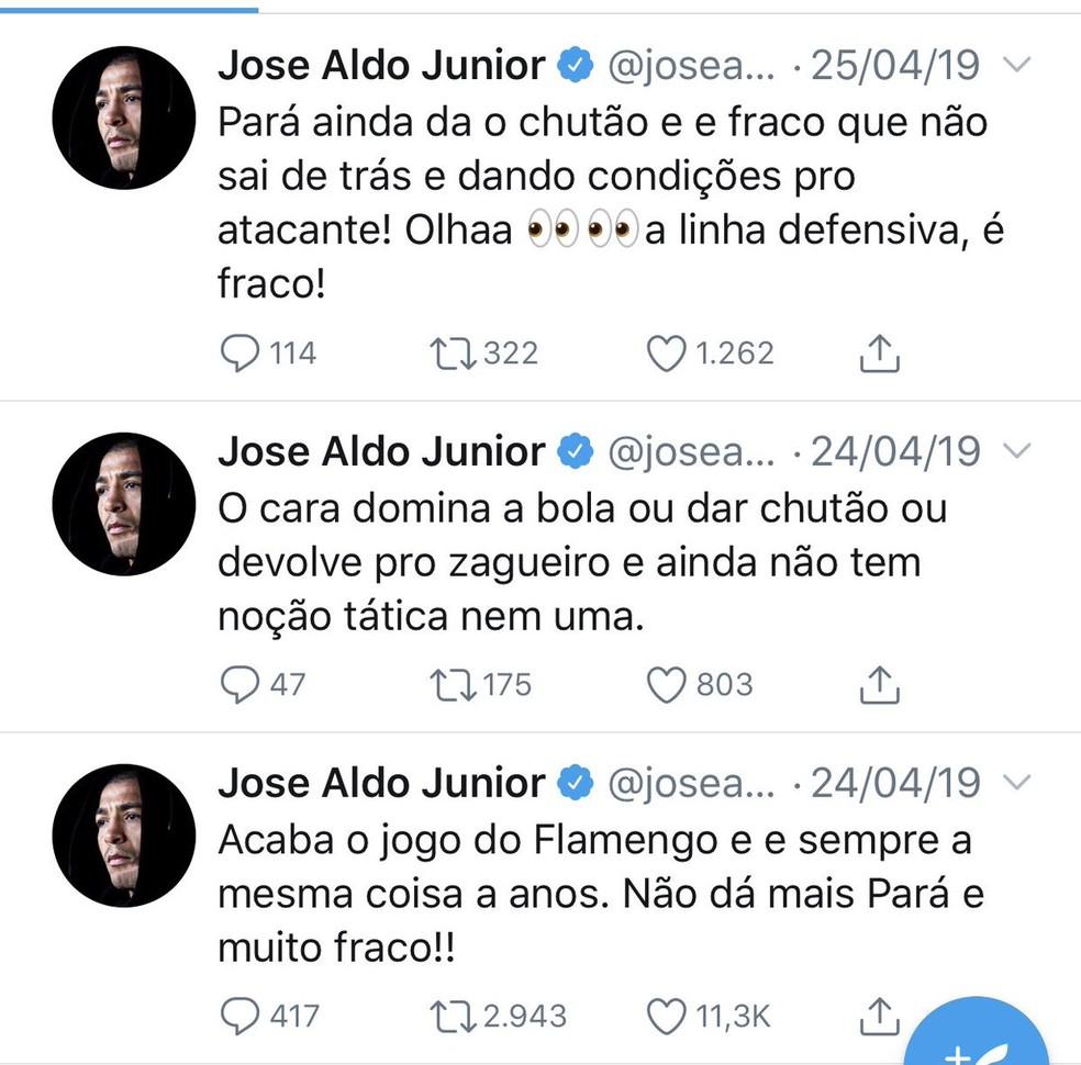 Postagem de José Aldo sobre Pará após LDU x Flamengo — Foto: Reprodução