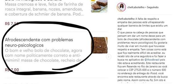 Restaurante no Rio causa polêmica na internet com sobremesa com nome racista (Foto: Reprodução)
