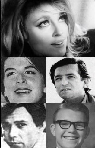 De cima para baixo, da esquerda para a direita: Sharon Tate, Abigail Folger, Wojciech Frykowski, Jay Sebring e Steven Parent (Foto: Wikimedia Commons)