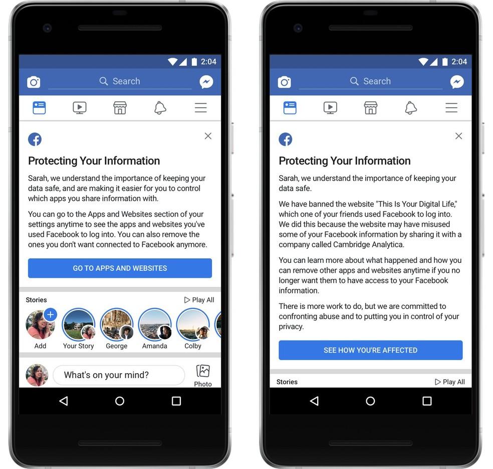 Facebook mostra aviso sobre aplicativos e sites que usam dados de usuários e se informações foram exploradas pela consultoria política Cambridge Analytica. (Foto: Divulgação/Facebook)