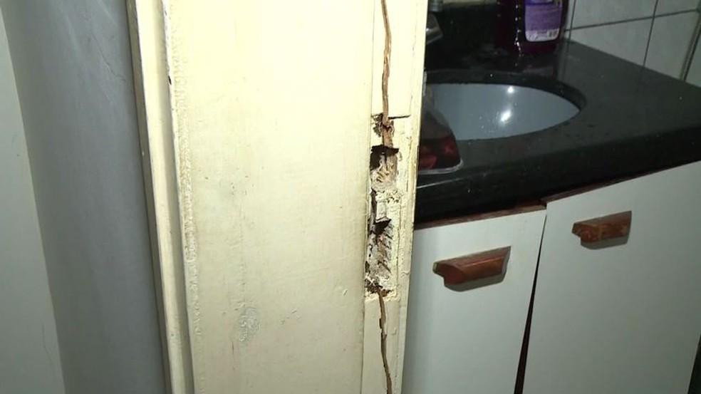 Professora tentou se esconder no banheiro, mas suspeito arrombou a porta e atirou — Foto: Reprodução/TV Gazeta