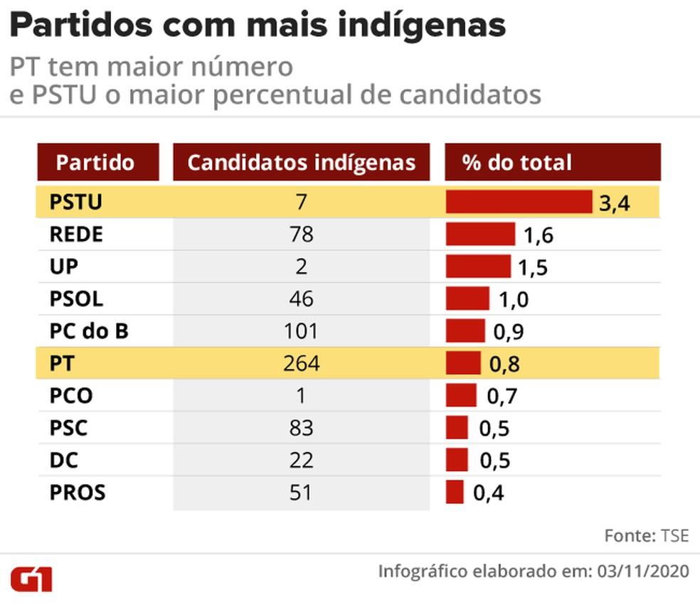 Partidos com mais candidatos que se declaram indígenas nas eleições municipais de 2020 — Foto: Elcio Horiuchi/G1