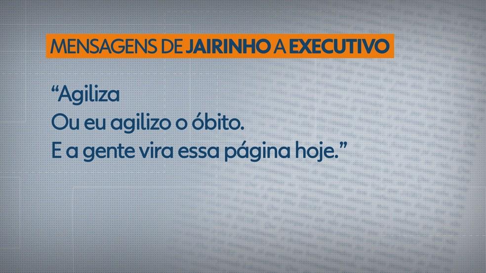 Mensagem do Dr. Jairinho a executivo da área de Saúde — Foto: Reprodução/TV Globo