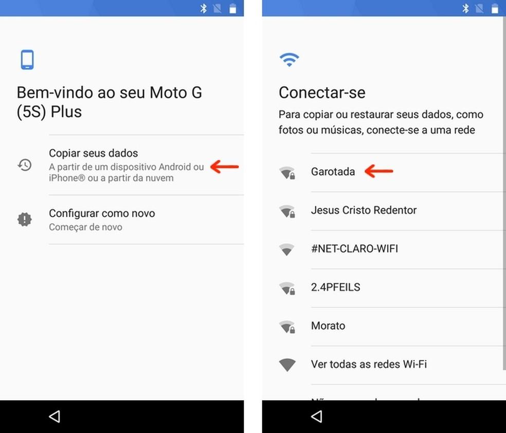 Conexão do novo celular Android à rede Wi-Fi de usuário (Foto: Reprodução/Raquel Freire)
