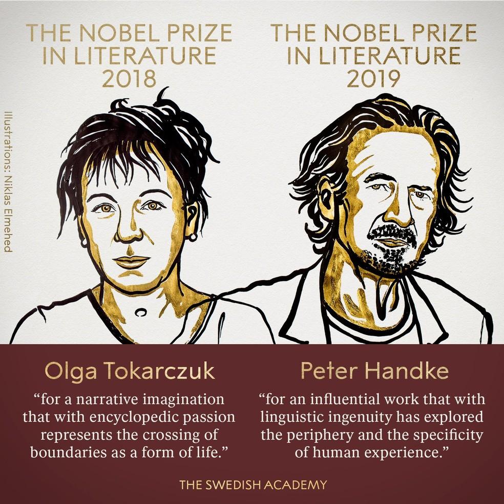 Vencedores do prêmio Nobel de Literatura, anunciado nesta quinta-feira (10) — Foto: Reprodução/Twitter Nobel Prize
