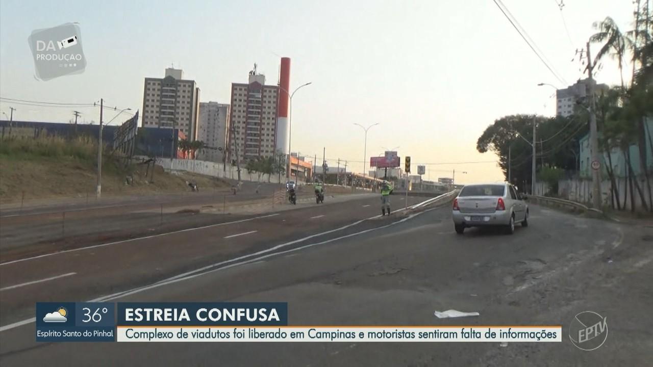 Complexo de viadutos é liberado, em Campinas, e motoristas sentem falta de sinalização
