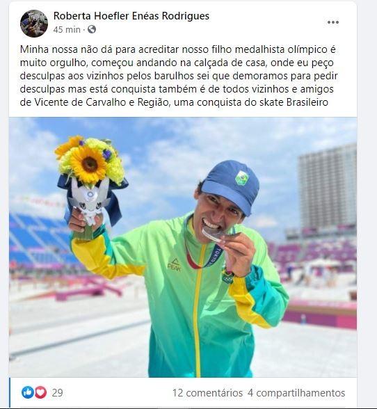 Pai de Kelvin Hoefler celebra medalha do filho nas Olimpíadas de Tóquio e se desculpa com vizinhos por barulho de skate na calçada