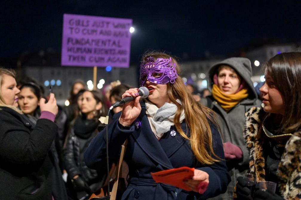 Evento em Lausanne, na Suíça, anterior ao Dia Internacional da Mulher, em 7 de março de 2020 — Foto: Fabrice Coffrini/ AFP