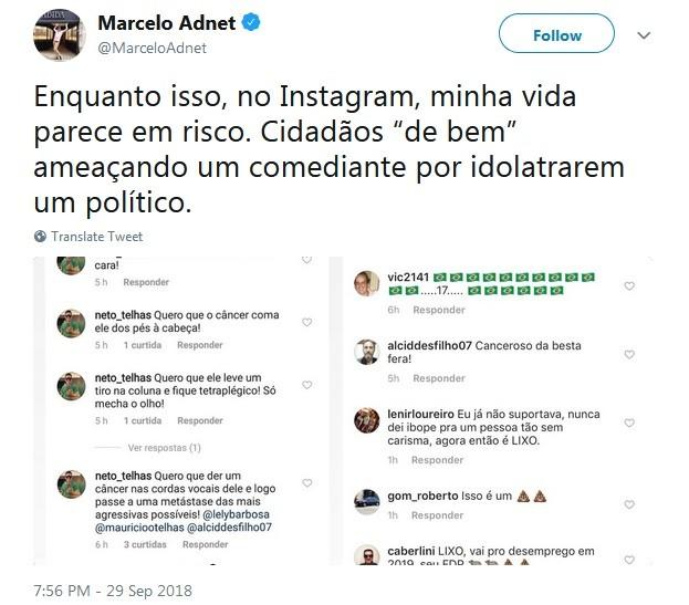 Marcelo Adnet afirma ter recebido ameaças na internet (Foto: Reprodução / Twitter)