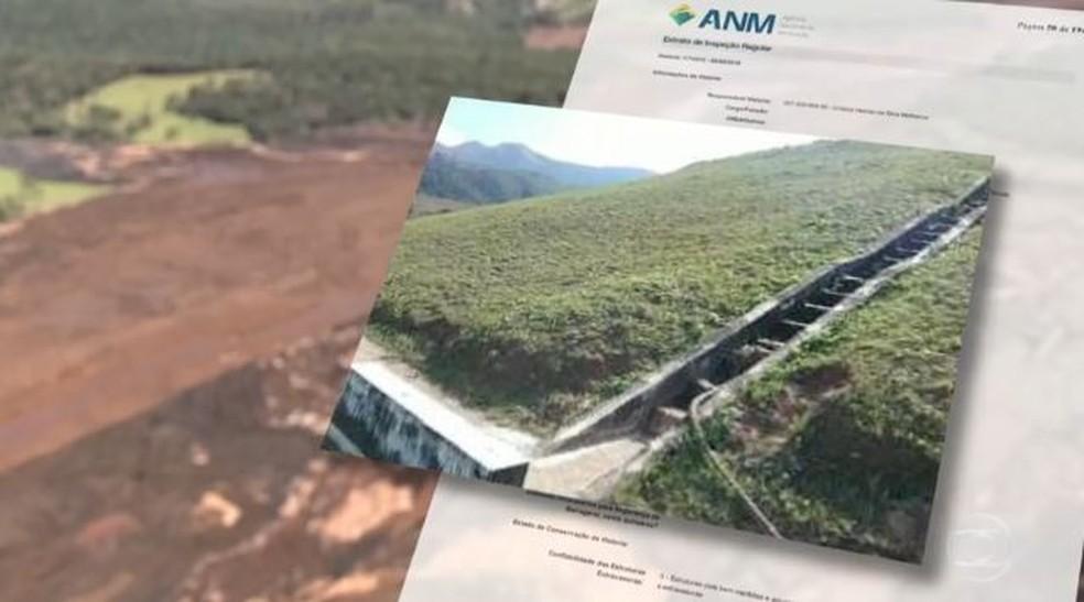 Imagem que a Vale enviou à ANM sobre a barragem de Brumadinho antes do rompimento — Foto: Arte/TV Globo