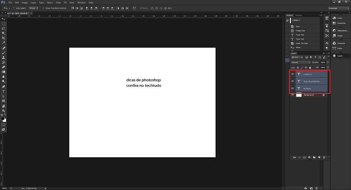 É possível editar vários textos ao mesmo tempo no Photoshop (Foto: Reprodução/Aline Jesus)