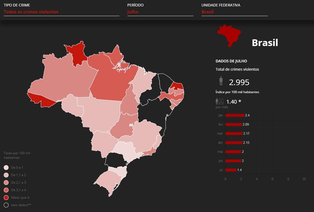 Mapa mostra mortes violentas em julho no Brasil — Foto: G1