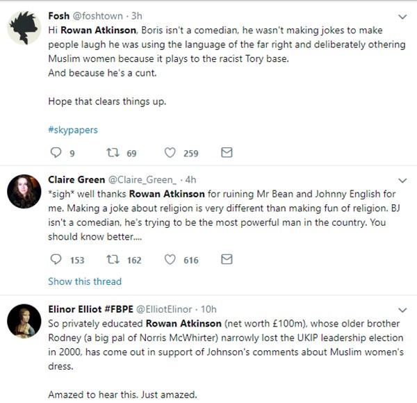 Comentários sobre o ator Rowan Atkinson nas redes sociais (Foto: Twitter)
