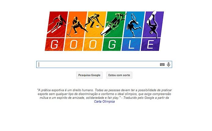 Google destaca igualdade no esporte no Doodle de homenagem às Olimpíadas de Inverno (Foto: Reprodução/Google)