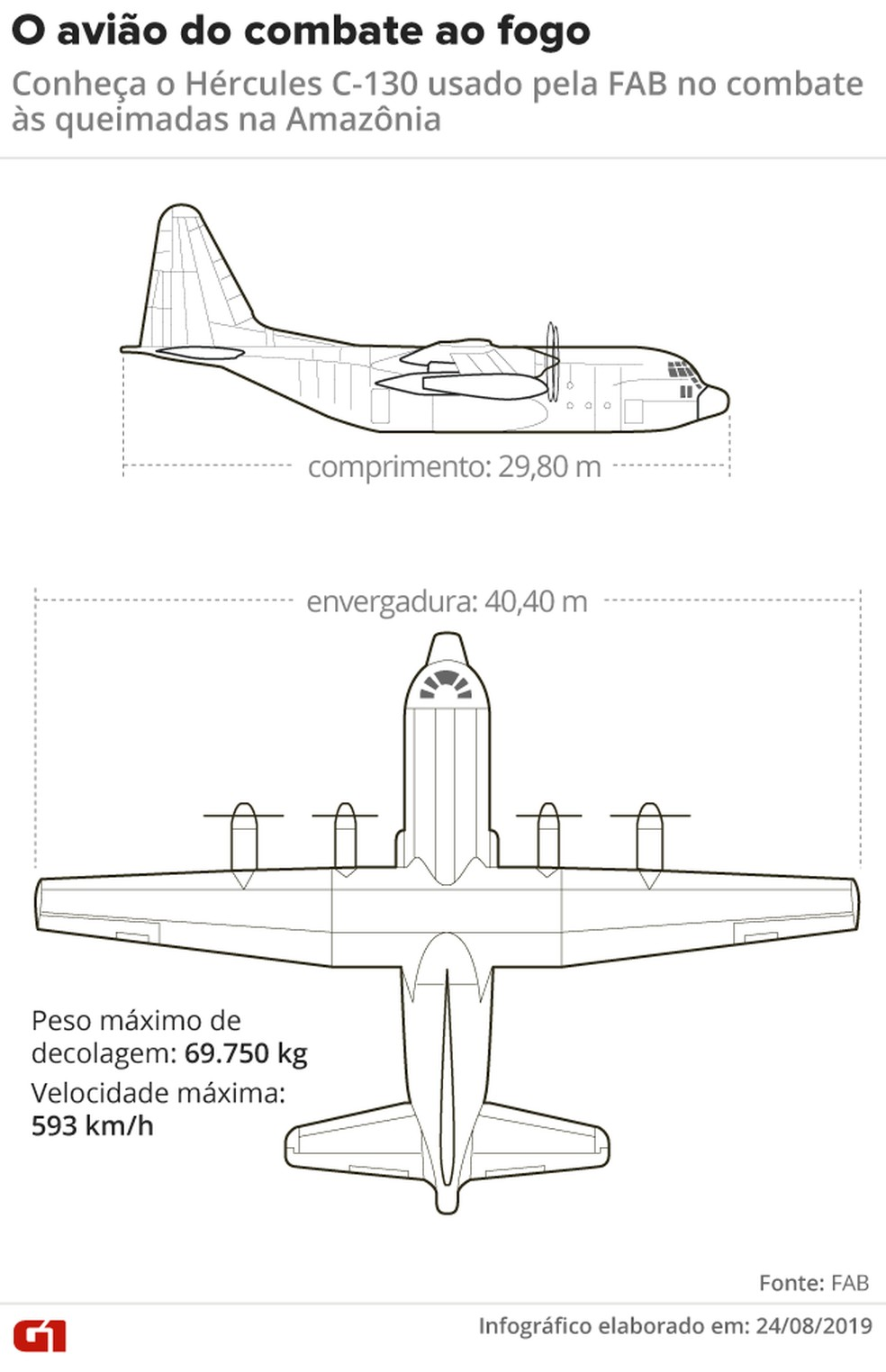 Aeronave modelo C-130 Hércules vai atuar no combate a focos de incêndio na Amazônia — Foto: Rodrigo Cunha/G1