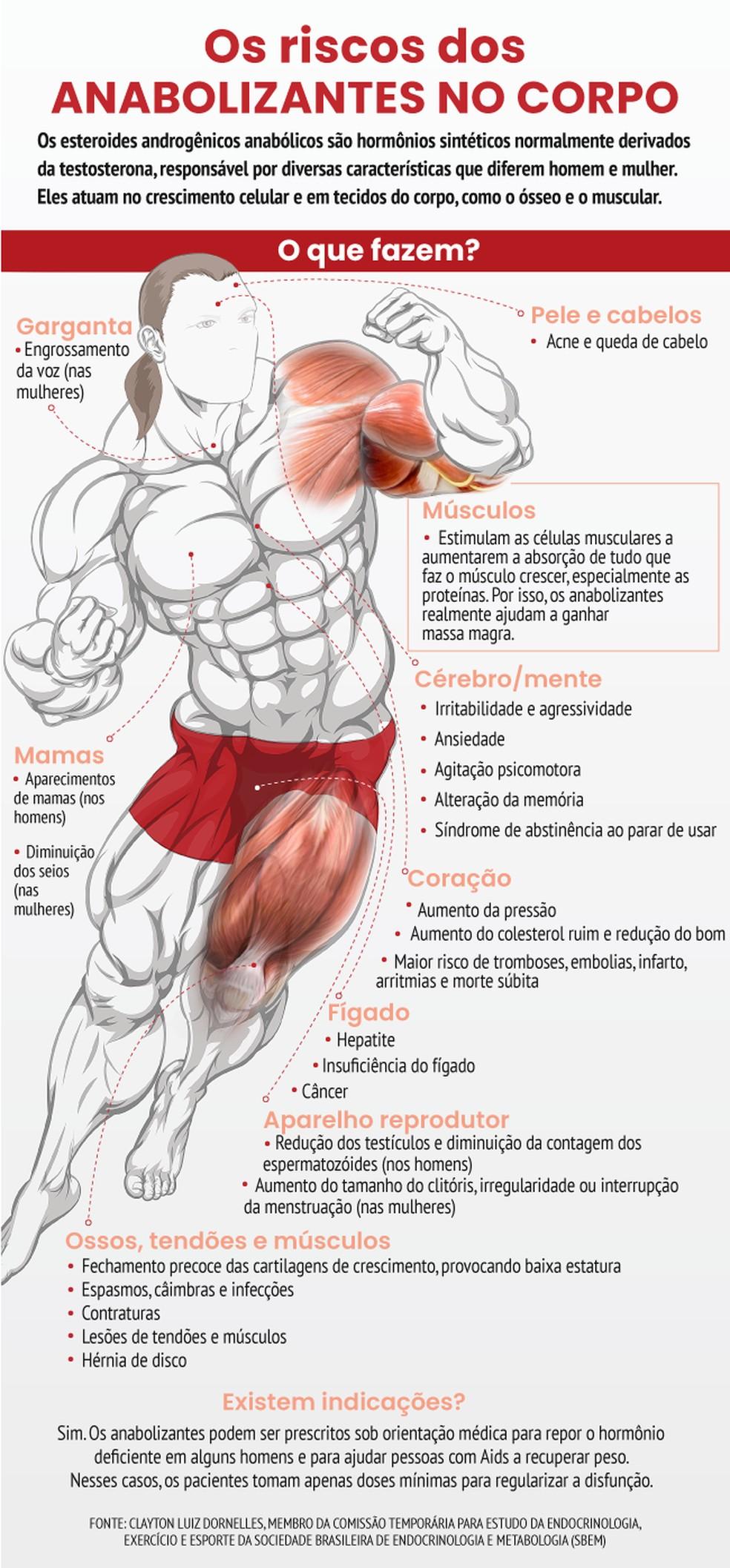 Efeitos que o uso indiscriminado de esteroides anabolizantes pode causar no organismo — Foto: Arte/Viva Você