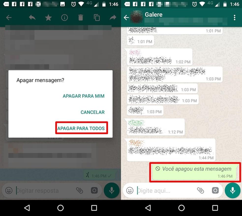 Whatsapp agora permite apagar mensagens para todos (Foto: Reprodução/Bruno Soares)