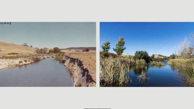 O antes e o depois da adoção da agricultura de sequência natural na região de Mulloon Creek (Foto: DIVULGAÇÃO/MULLOON INSTITUTE)