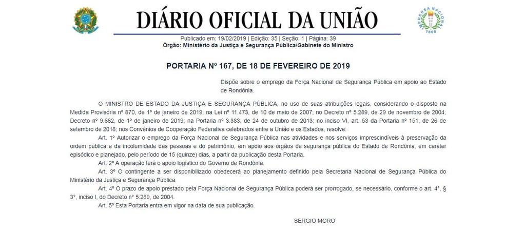Portaria de Sérgio Moro foi publicada nesta terça-feira (19) — Foto: Reprodução