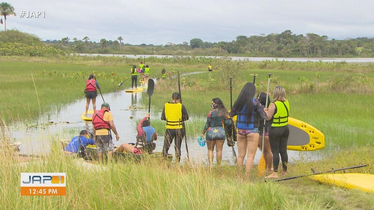 Mulheres no rio: a prática de stand up paddle cresceu entre o público feminino no Amapá