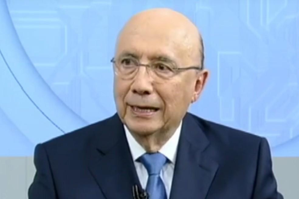 O candidato do MDB à Presidência da República, Henrique Meirelles, durante entrevista à Record (Foto: Reprodução)