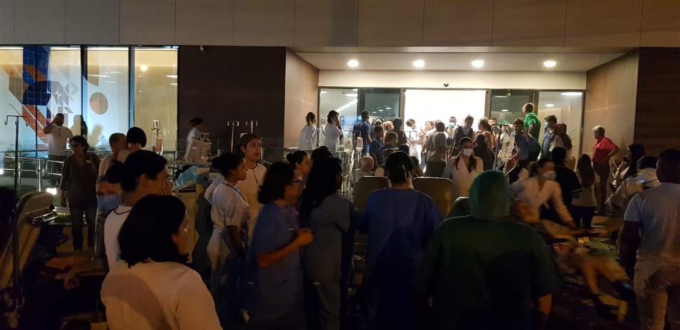 Fachada do Hospital Badim, no Maracanã, após incêndio na unidade. — Foto: Reprodução/Redes Sociais