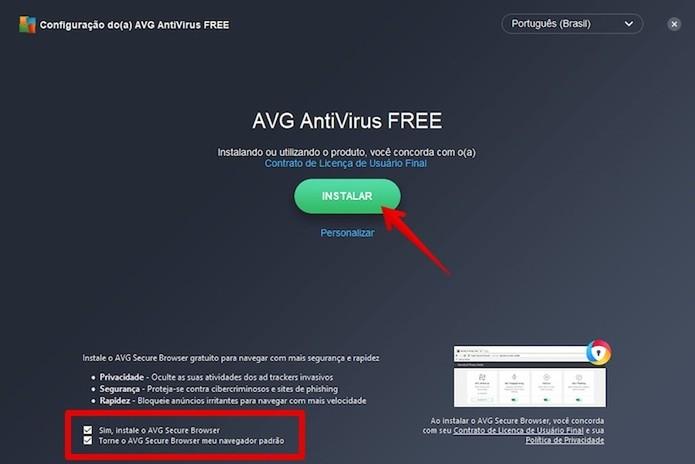 Instalando o AVG Antivírus no PC (Foto: Reprodução/Helito Bijora)