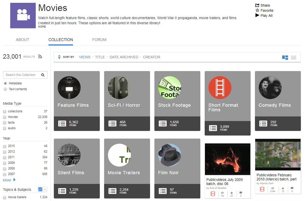 Internet Archive reúne em um só lugar vídeos em domínio público — Foto: Reprodução/TechTudo