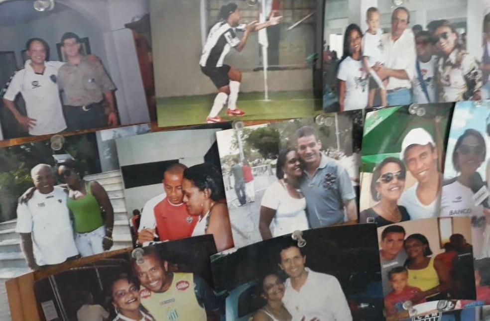 Fotos com ídolos também marcam amor pelo clube (Foto: Helenisia Delfino/Arquivo Pessoal)