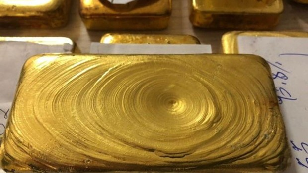 Barras de ouro avaliadas em R$ 1,3 milhão apreendidas pela Polícia Federal no aeroporto de Boa Vista, em 2018 (Foto: POLÍCIA FEDERAL)