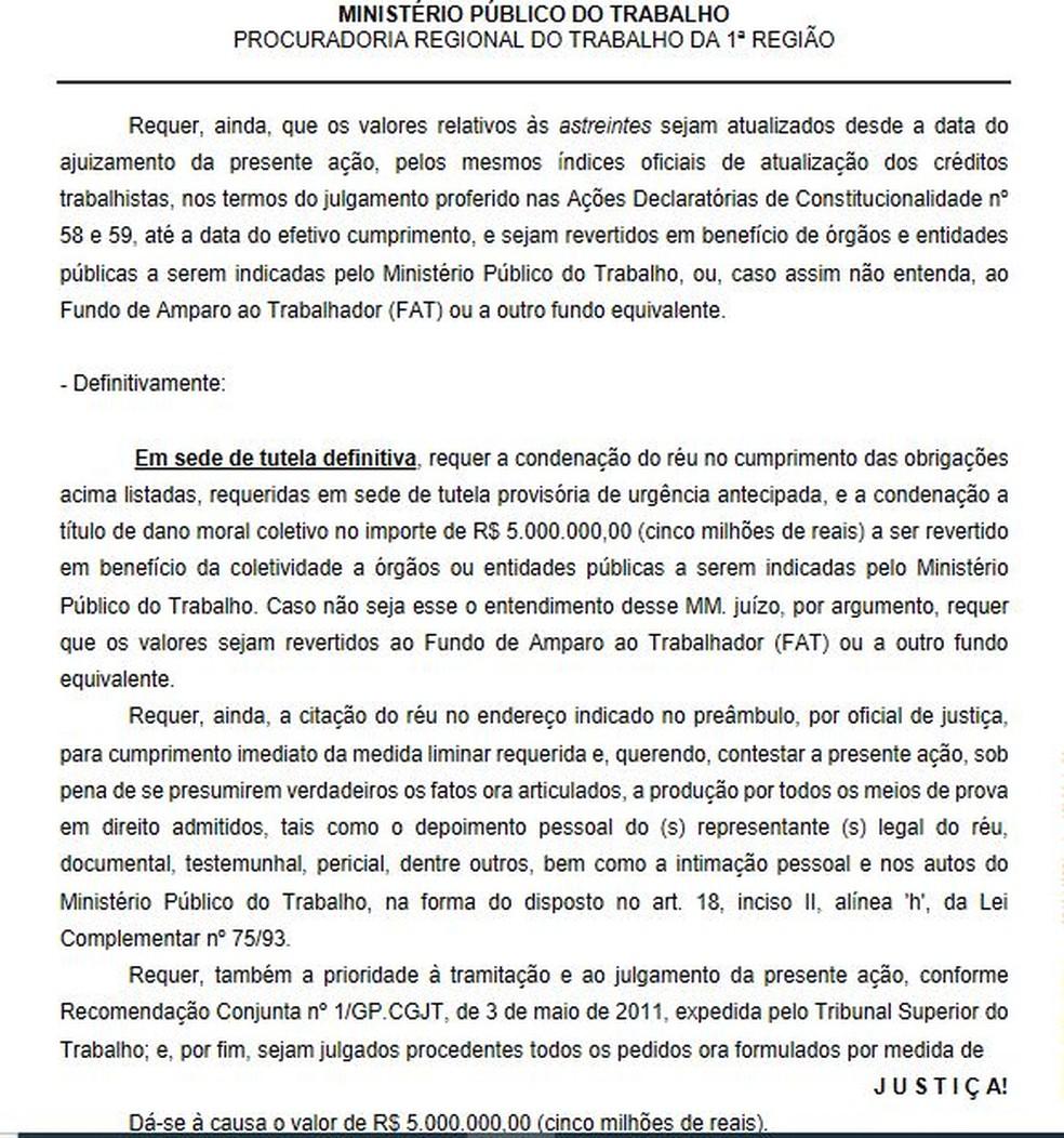 MPT também pede multa de R$ 5 milhões pelo não cumprimento de obrigações trabalhistas — Foto: Reprodução