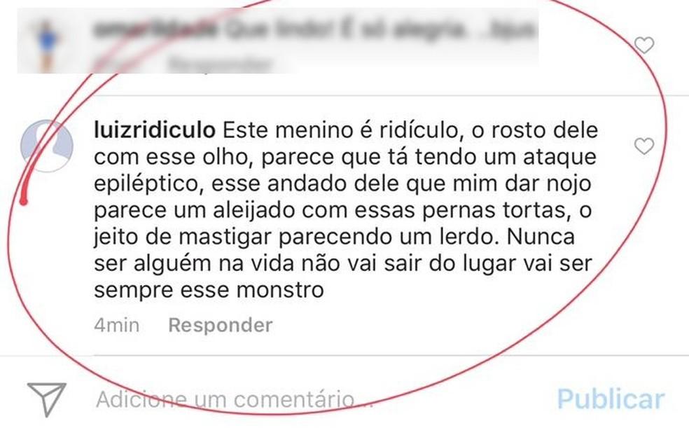 Mãe denuncia post criado para agredir criança com Down  (Foto: Reprodução/Instagram)