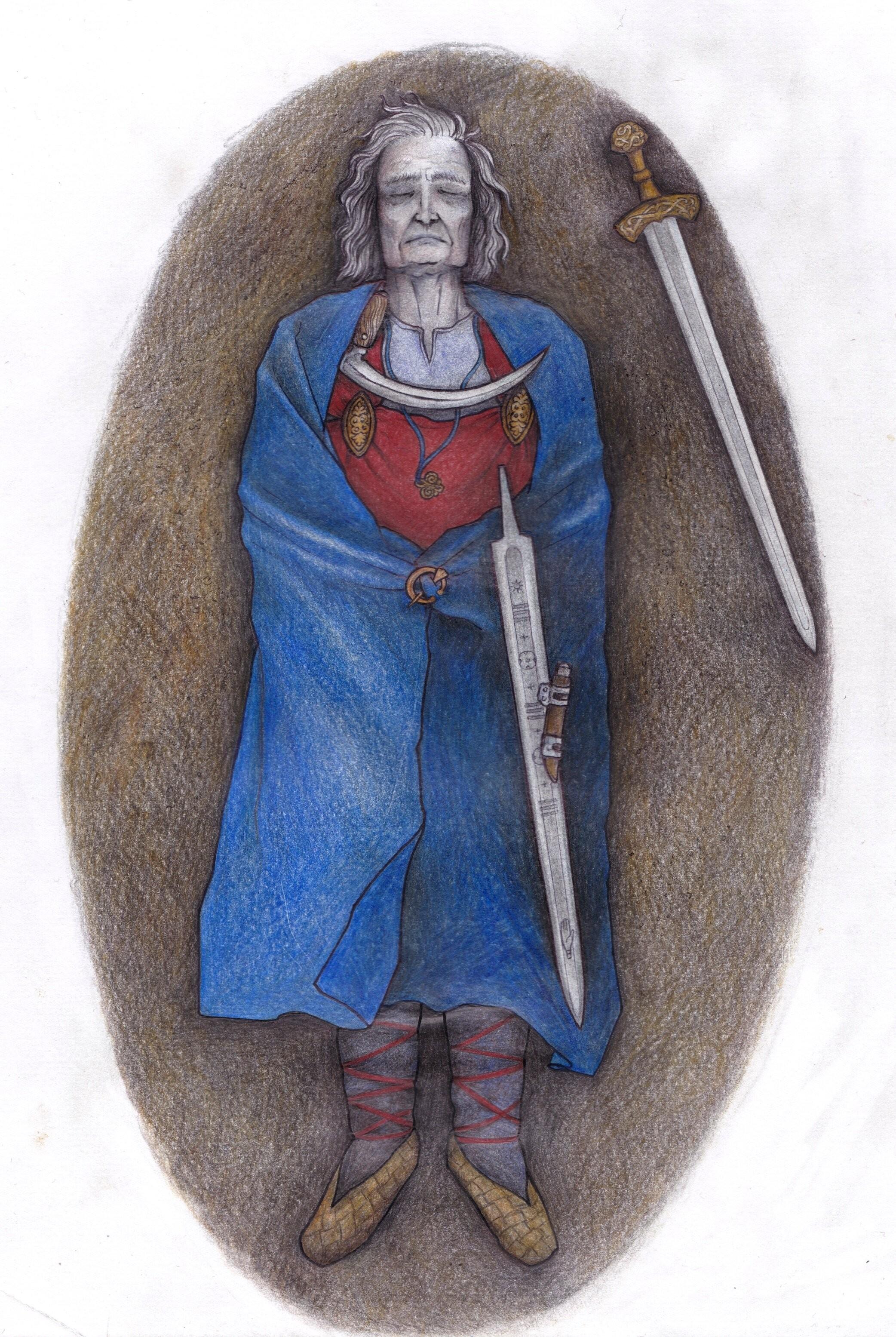 Desenho reconstrói o túmulo de Suontaka, na Finlândia (Foto: Veronika Paschenko)