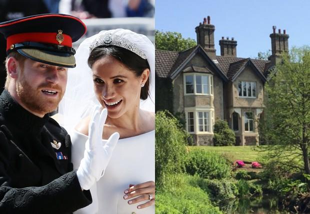 Mansão York Cottage, dada a Meghan e Harry pela rainha Elizabeth II (Foto: Getty Images e Reprodução/Twitter)