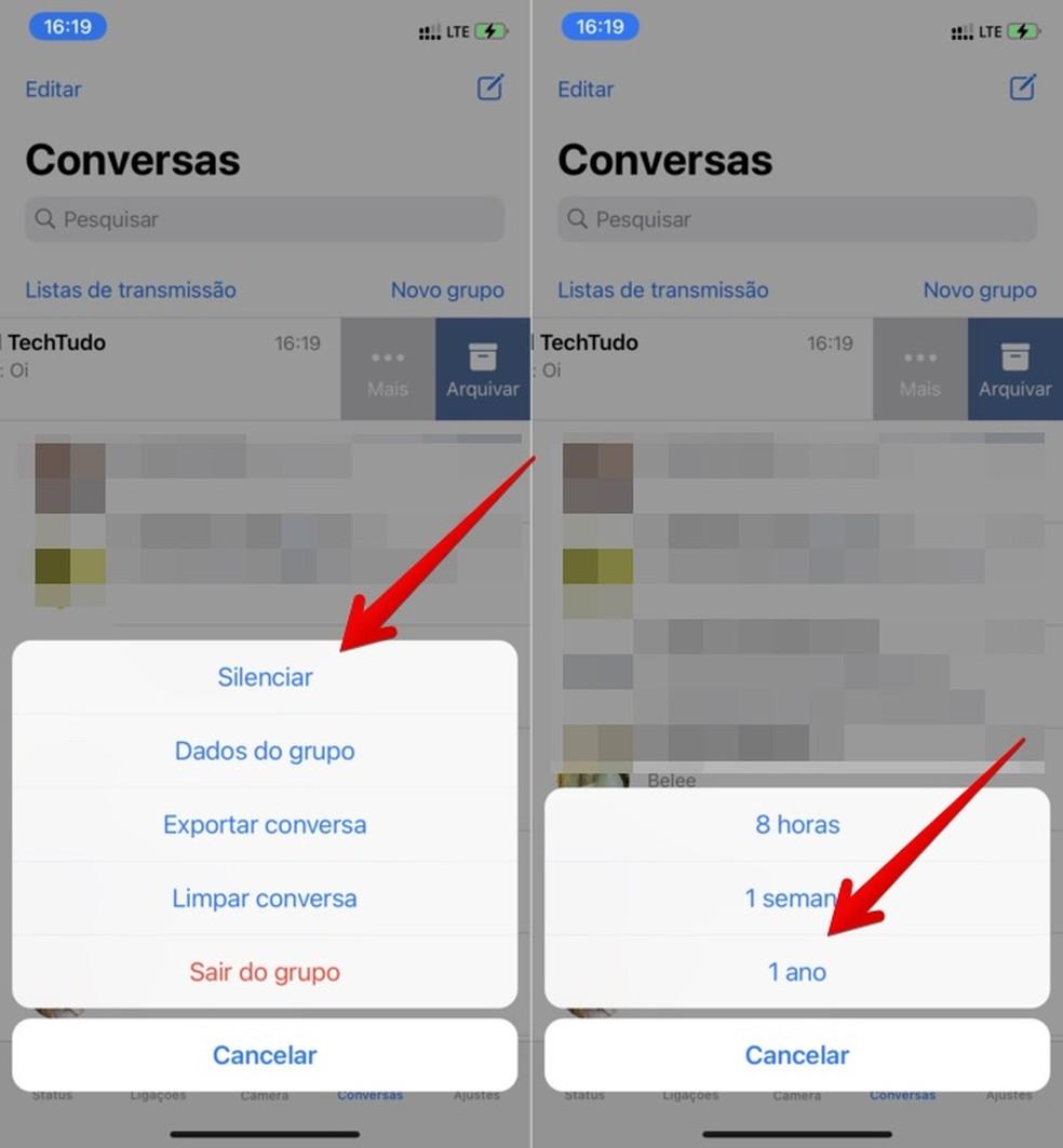 Tutorial mostra como esconder grupos no WhatsApp — Foto: Reprodução/Helito Beggiora