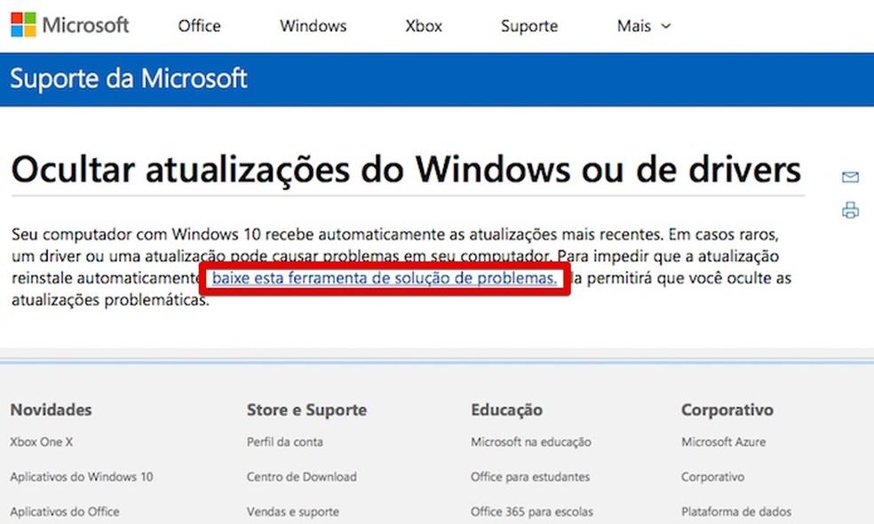 Baixe o utilitário da Microsoft (Foto: Reprodução/Helito Bijora)