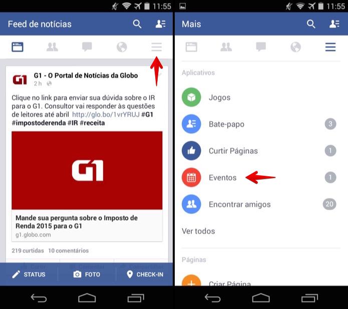 Acessando eventos do Facebook no Android (Foto: Reprodução/Helito Bijora)