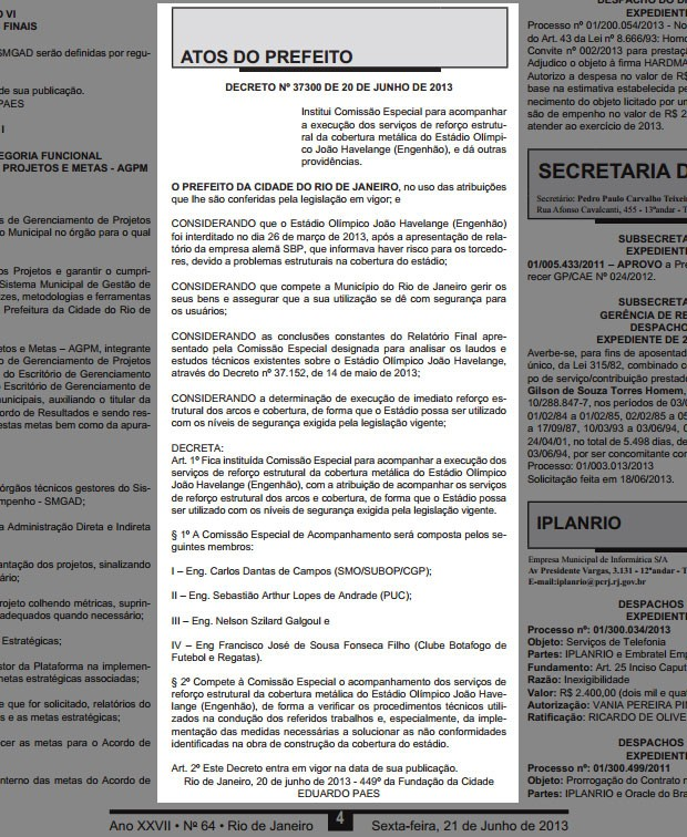 Reprodução Diário Oficial atos do prefeito sobre o Engenhão (Foto: Reprodução Diário Oficial)