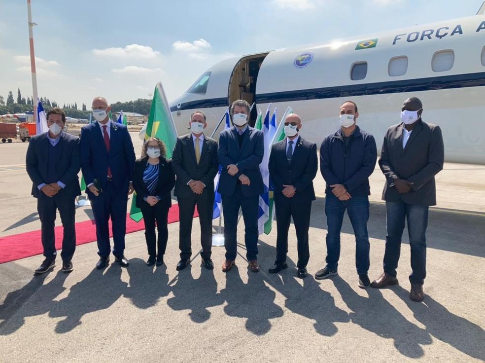 Comitiva brasileira desembarca em Israel durante viagem oficial — Foto: Ministério das Relações Exteriores/Reprodução