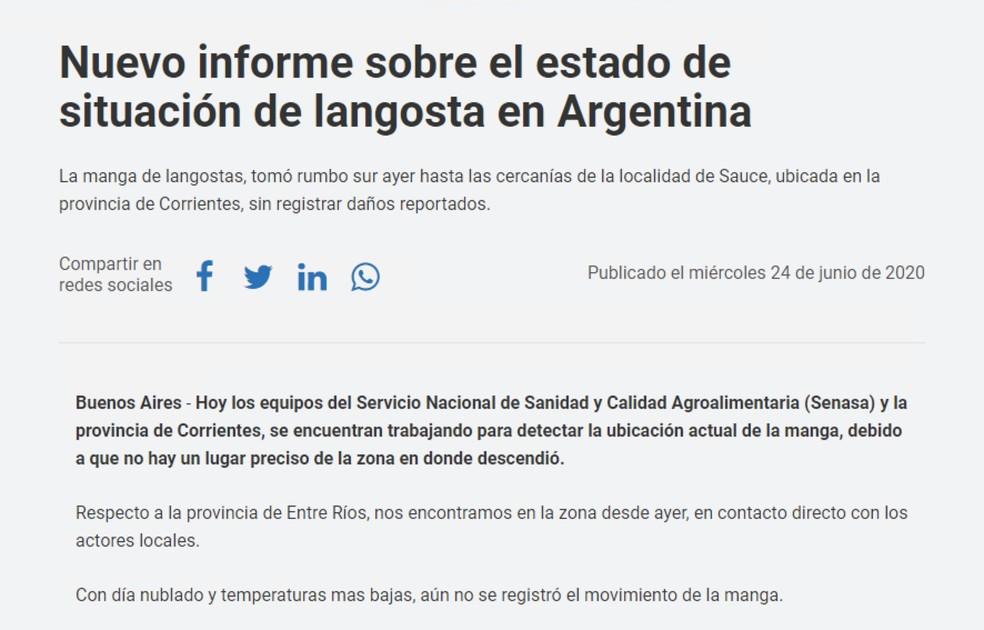 Governo argentino lançou boletim sobre a situação na quarta-feira — Foto: Reprodução
