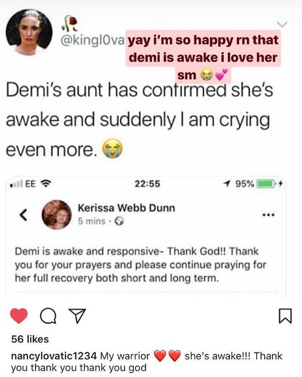 Post da dia de Demi Lovato dizendo que ela acordou (Foto: Reprodução/Instagram)